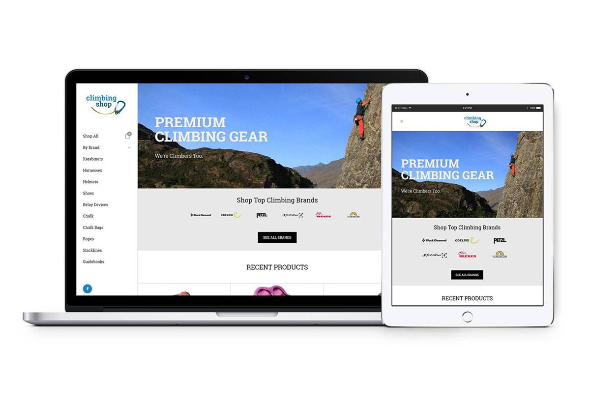 Website Design - The Climbing Shop, Wanaka