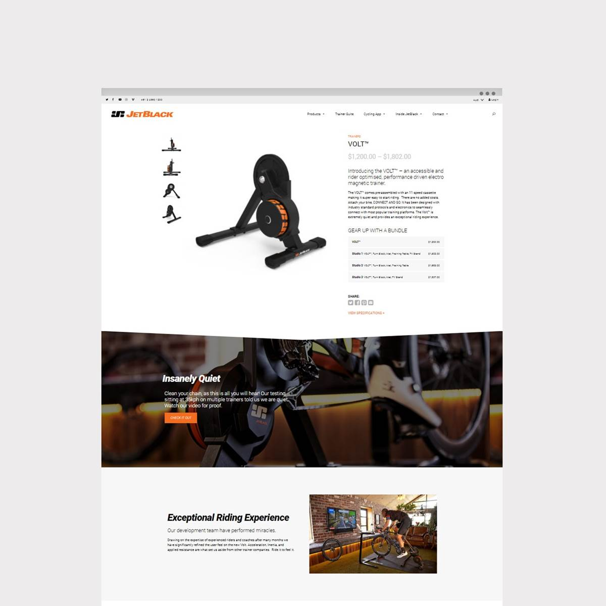 The Volt - Bike Trainer from JetBlack Cycling. Web design by Envy Web + Design