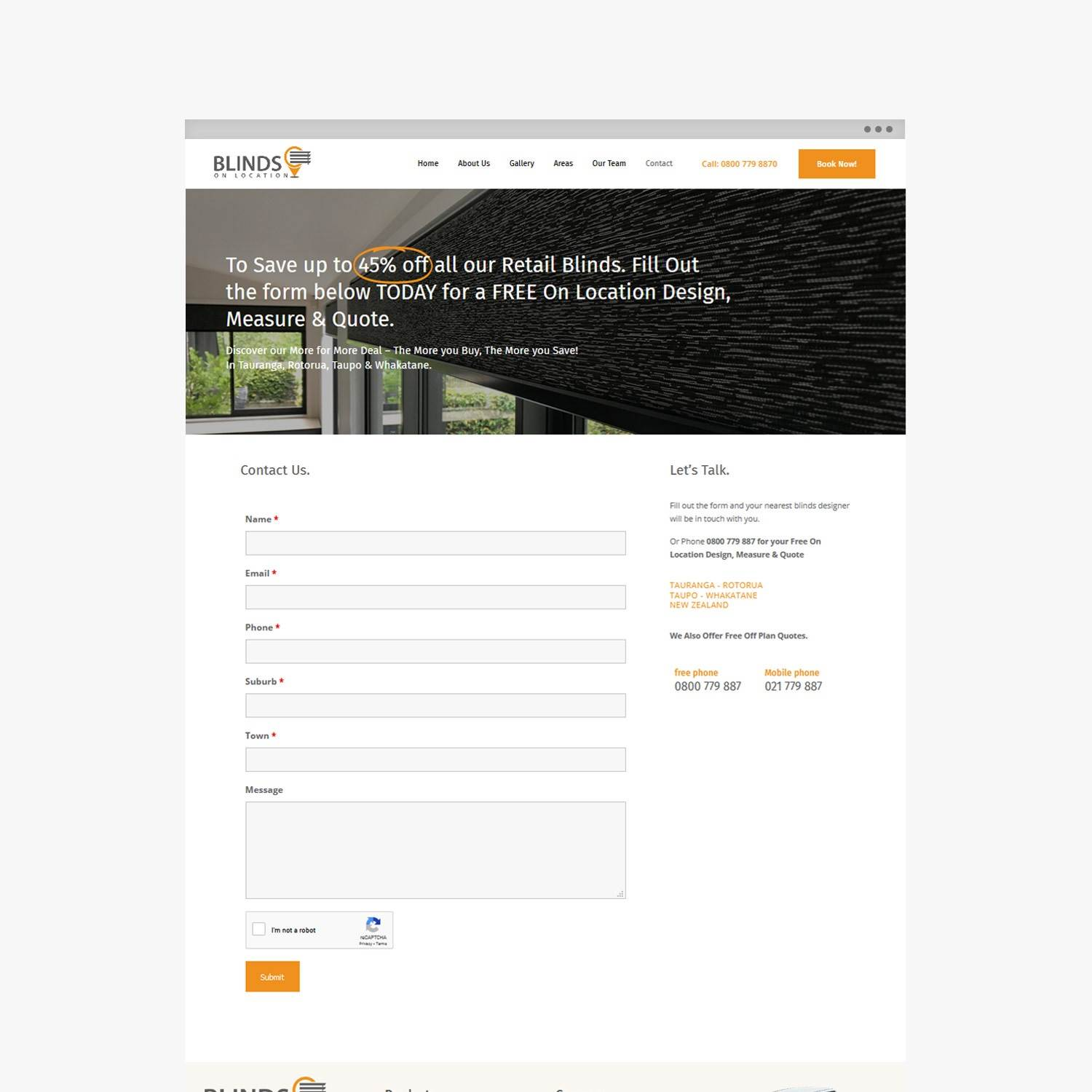 Blinds On Location - Bay Of Plenty Website Design