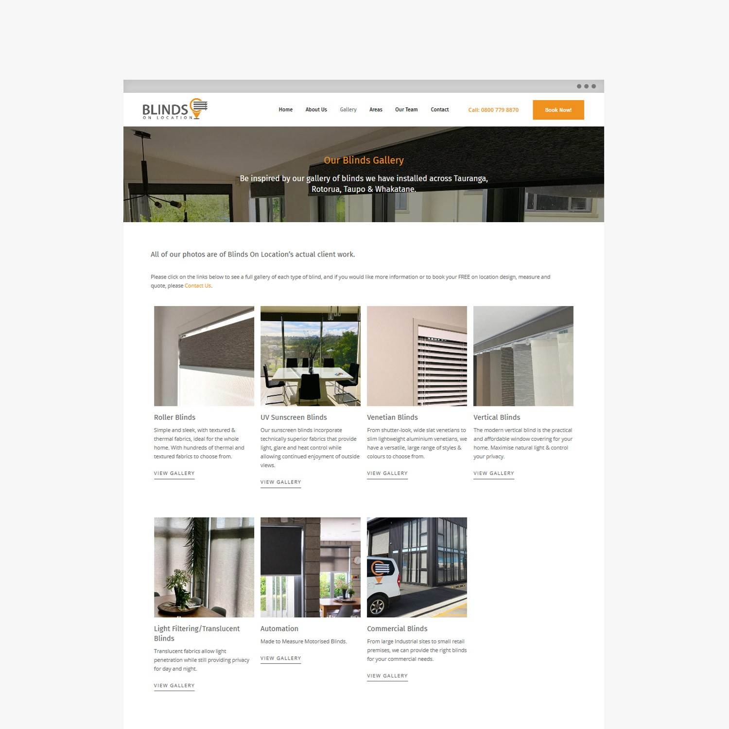 Blinds On Location - Taupo Website Design