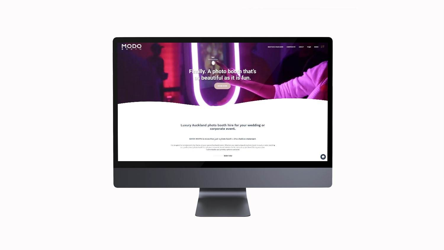 Auckland website design for MODO BOOTH